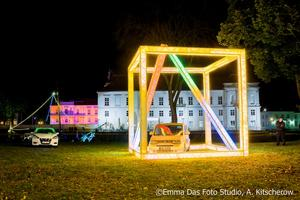 Lichtwürfel am Havelufer zur Lichternacht 2017 in Oranienburg