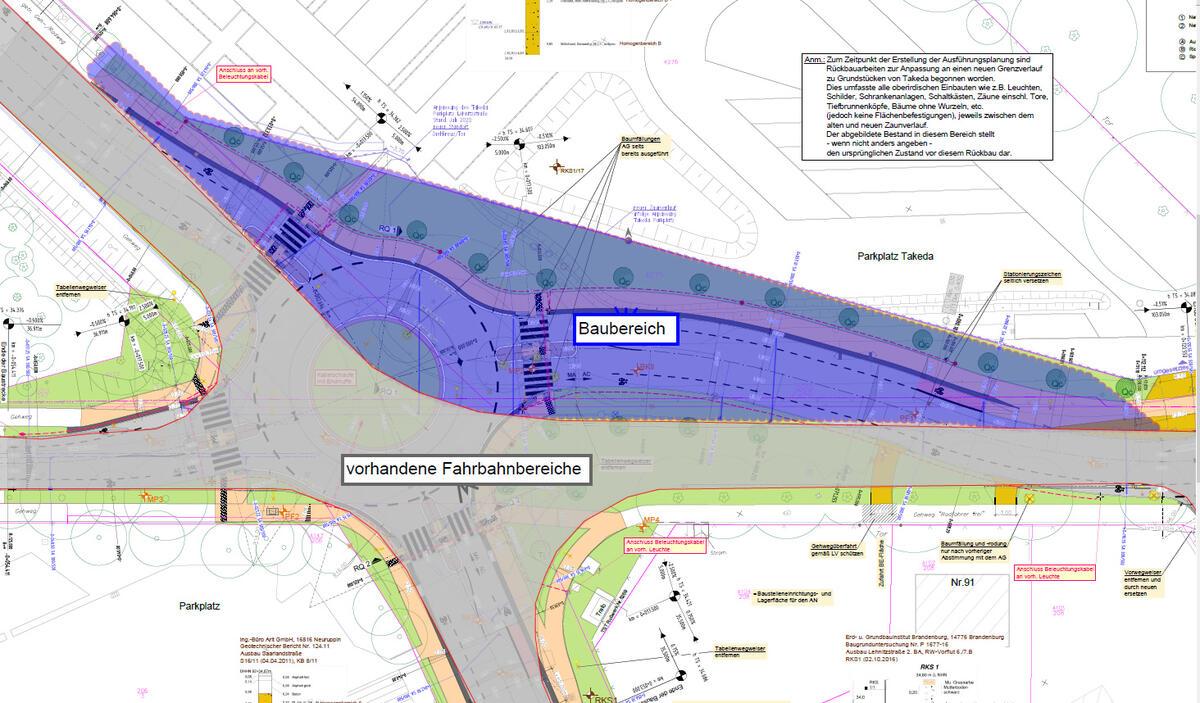Der Bau eines Kreisverkehrs an der Kreuzung der André-Pican-, Saarland- und Lehnitzstraße beginnt am 21. Juni 2021 mit der 1. Bauphase.